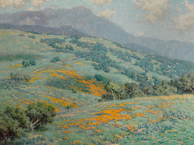 Granville Redmond (American, 1871-1935) Hillside in spring 20 1/4 x 25 1/4in overall: 26 1/2 x 31 1/2in