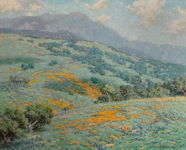 Granville Redmond (American, 1871-1935) Hillside in spring 20 1/4 x 25 1/4in overall: 26 1/2 x 31 1/2in