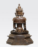 A large copper alloy processional image of Buddha as Supreme Healer Myanmar, Arakan style, 15th-17th century