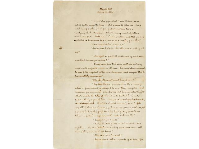 "Arthur Conan Doyle single autographed manuscript leaf from ""The Hounds of the Baskervilles"", 1891."