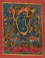 A silk banner of forty-four initiation cards (tsakli) Tibet, 16th/17th century