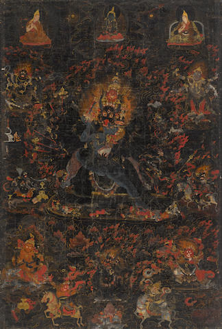 A blackground thangka of Vajrabhairava Tibet, 18th century