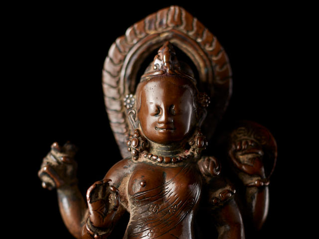 A copper figure of Devi Nepal, circa 9th century