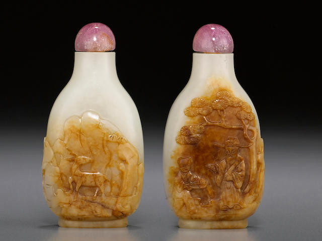 A carved white and russet jade snuff bottle 1780-1850