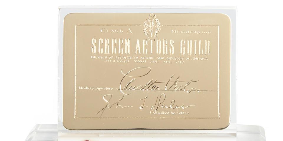 A Charlton Heston 14K gold SAG membership card