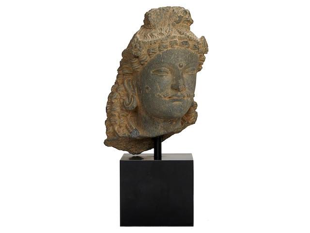 Head of Boddhisattva Grey Schist