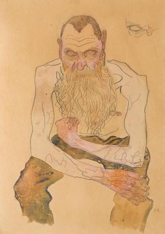 OSKAR KOKOSCHKA (1886-1990) Sitzender bärtiger Mann 16 7/8 x 12 1/8 in ( 42.7 x 30.8 cm) (Drawn in 1907)