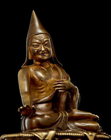 A copper alloy figure of Shakya Shenyen Tibeto-Chinese, 18th century