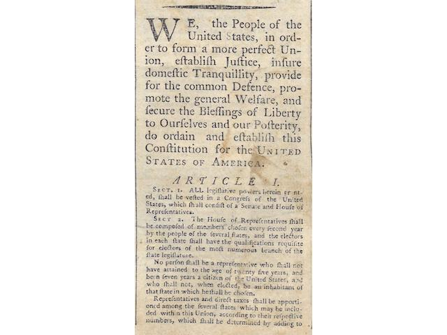 THE U.S. CONSTITUTION. The New-Haven Gazette and the Connecticut Magazine. New Haven: Josiah Meigs, September 27, 1787. Vol 2, No 32.