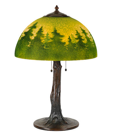 A Handel interior painted glass and patinated metal Forest Landscape lamp early 20th century