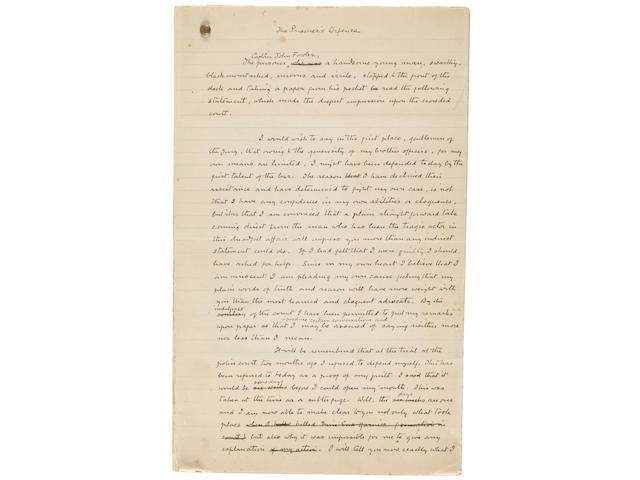 "Arthur Conan Doyle autographed manuscript ""The Prisoner's Defense"", early draft."
