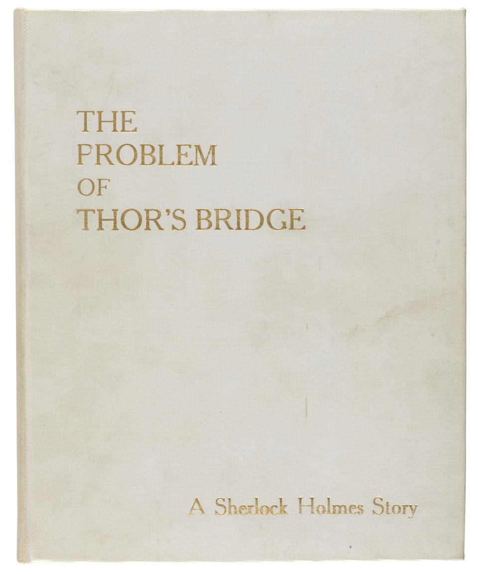 "DOYLE, SIR ARTHUR CONAN. 1859-1930. Autograph Manuscript Signed (""A Conan Doyle""), entitled ""The Problem of Thor's Bridge"" and ""Continuation of 'The Problem of Thor's Bridge',"" 48 pp in two parts, 8vo and 4to, Crowborough, East Sussex, c.1922,"