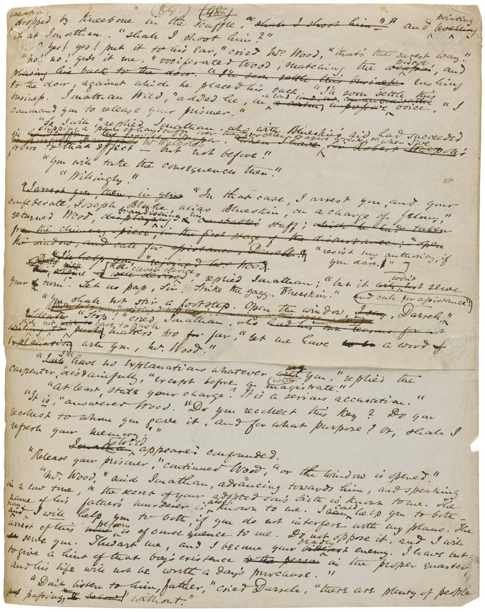 """AINSWORTH, WILLIAM HARRISON. 1805-1882. Autograph Manuscript Signed (""""W. Harrison Ainsworth""""), entitled """"True Account of Jack Sheppard the Housebreaker...,"""" 359 leaves (most recto only), 4to, London, 1837-38,"""