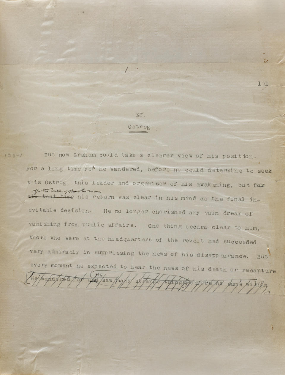 """WELLS, HERBERT GEORGE. 1866-1946. Autograph and Typed Manuscript Signed (""""H.G. Wells""""), being chapters 12-25 of the novel When the Sleeper Wakes, 423 pp, 4to, Heatherlea, Worcester Park, London, c.1898-99,"""