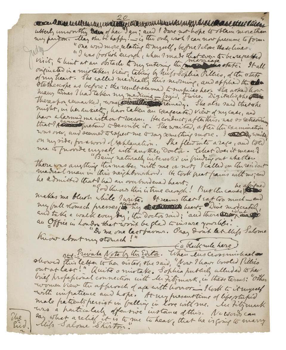 """COLLINS, WILLIAM WILKIE. 1824-1889. Autograph Manuscript Signed (""""Wilkie Collins""""), entitled """"Fie! Fie! or, The Fair Physician: (Edited, Under the Instructions of Mrs. Crossmichael),"""" 20 pp, 4to, London, c.1882,"""