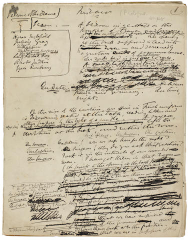 """COLLINS, WILLIAM WILKIE. 1824-1889.  Autograph Manuscript, being working drafts of the play """"The New Magdalen. A Dramatic Story in Three Acts,"""""""