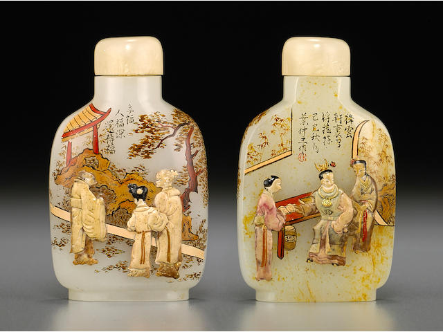 An embellished and inscribed white jade snuff bottle The bottle: 1780-1900, embellishment: Tsuda family, Kyoto, Japan, 20th century