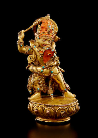 A gilt copper alloy figure of Raktayamari Tibet, circa 17th century