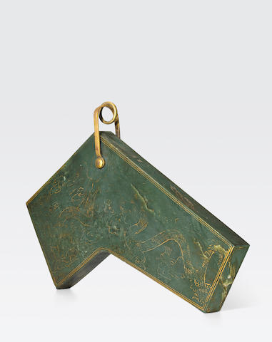 An Imperial gilt-decorated spinach jade musical chime, qing Dated Qianlong 29th year, corresponding to 1764, the gilding later