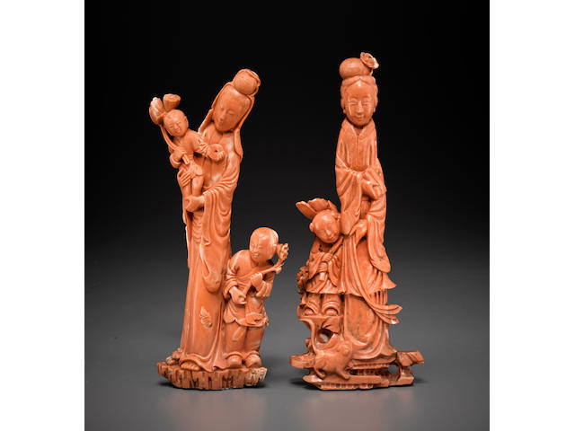 Two coral figural carvings Republic period.