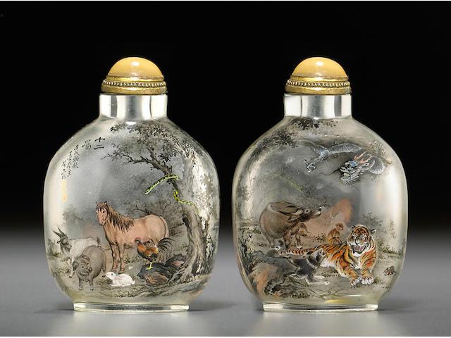 An inside-painted glass snuff bottle Wang Xisan, 1982