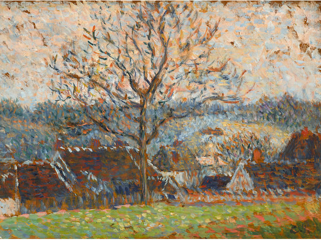 CAMILLE PISSARRO (1830-1903) Paysage avec maisons, environs d'Éragny 6 1/2 x 9 1/2 in (15.7 x 23.6 cm) (Painted in 1888)