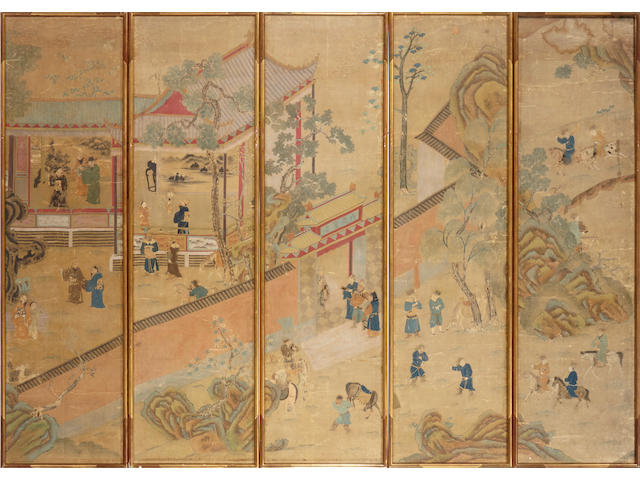 A group of five embroidered silk landscape panels with painted details 18th/19th century