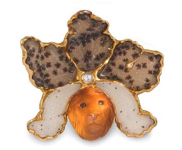 A carved citrine, druzy agate, diamond and 18k gold brooch, Elizabeth Gage,