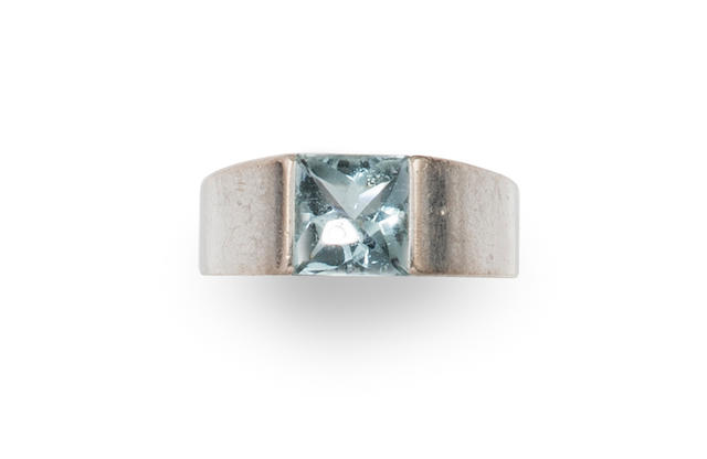 An aquamarine and 18k white gold 'Tank' ring, Cartier