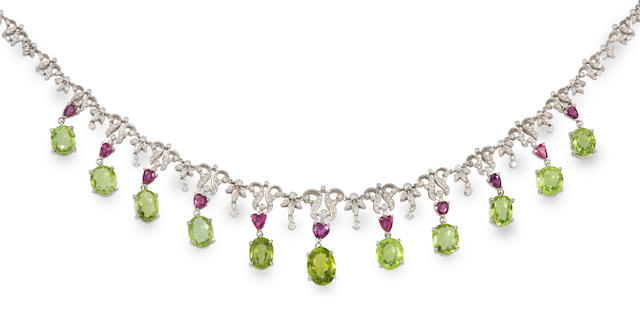 A peridot, ruby, diamond and 14k white gold necklace