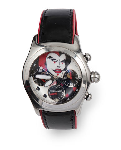 A stainless steel and leather strap automatic calendar chronograph 'Bubble Joker' wristwatch, Corum