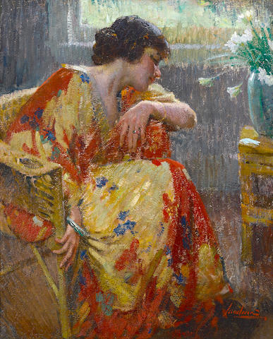 Matteo Sandona (American, 1881-1964) In her Kimono 36 x 28 5/8in (overall: 42 1/2 x 35 1/2in)