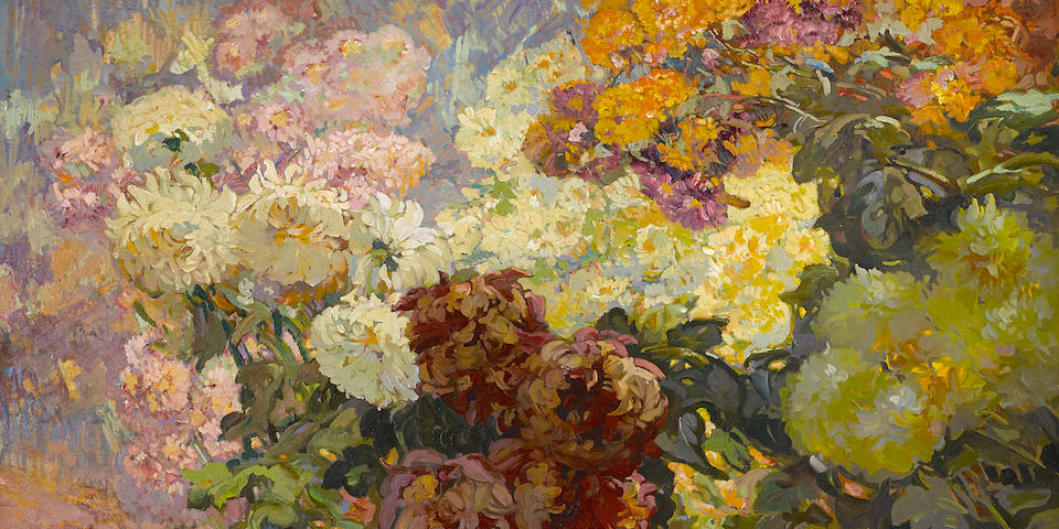 Franz A. Bischoff (1864-1929) Peonies 30 x 40in (overall: 39 x 49in)