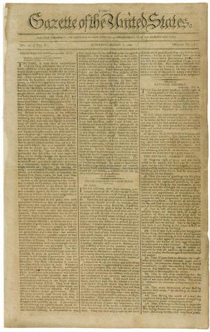 ASSUMPTION PLAN. [HAMILTON, ALEXANDER. 1755-1804.] Gazette of the United States. New York: John Fenno, August 7, 14, 21, & 28, 1790. Vol 2, nos 34, 36, 38, & 40.