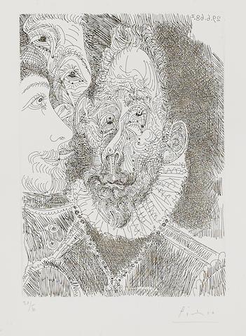 Pablo Picasso (1881-1973); Portrait-Charge d'un Personnage, en Larmes, Pl. 194, from Séries 347;