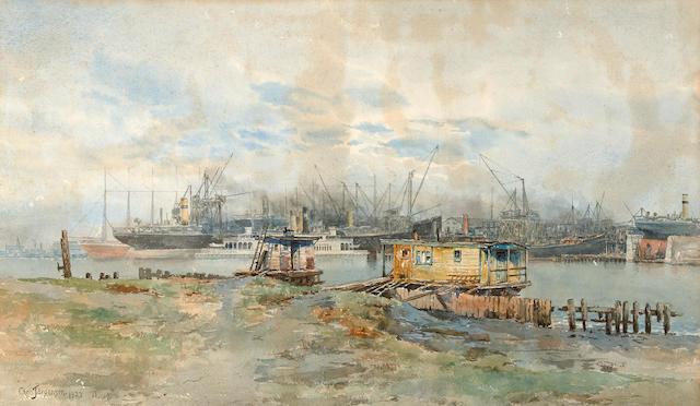 Christian Jorgensen (American, 1860-1935) Harbor scene 17 1/2 x 29 3/4in (Painted in 1923)