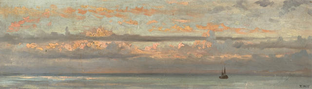 Thomas Hill (American, 1829-1908) Boat on calm seas at dusk 5 x 16 1/2in overall: 10 1/2 x 22in
