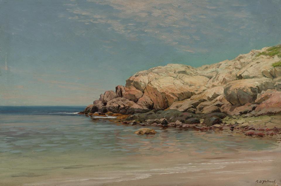 Raymond Dabb Yelland (American, 1848-1900) Coastal rocks 16 x 24in