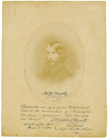 "JOHN BROWN GANG INSCRIBED PHOTOGRAPH. HYATT, THADDEUS. 1816-1901. Photograph Signed (""Thaddeus Hyatt"") and Inscribed,"