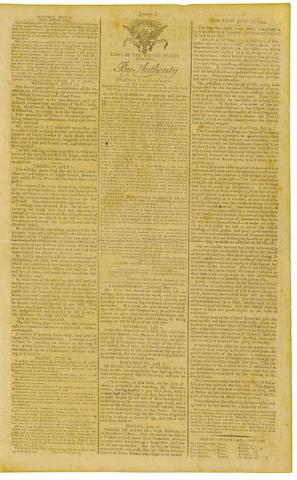 WASHINGTON D.C. Gazette of the United States. New York: John Fenno, July 17, 1790. No 132.
