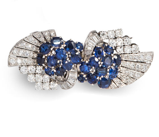 An Art Deco sapphire and diamond double clip brooch,