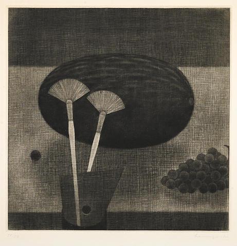 Yozo Hamaguchi (1909-2000); Brushes and Melon;