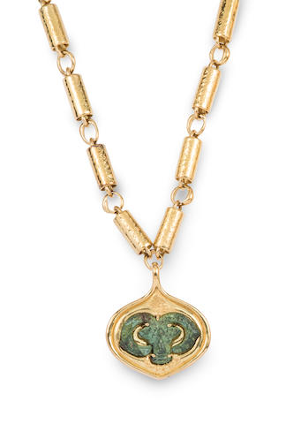 An 18k gold and ancient bronze pendant necklace,  Elizabeth Gage,
