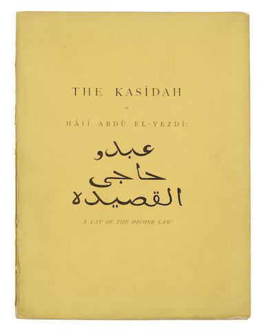 BURTON, RICHARD. 1821-1890. The Kasidah of Haji Abdu El-Yezdi. Translated and Annotated by his Friend and Pupil, F.B. London: Privately printed (but Bernard Quaritch), [1880].