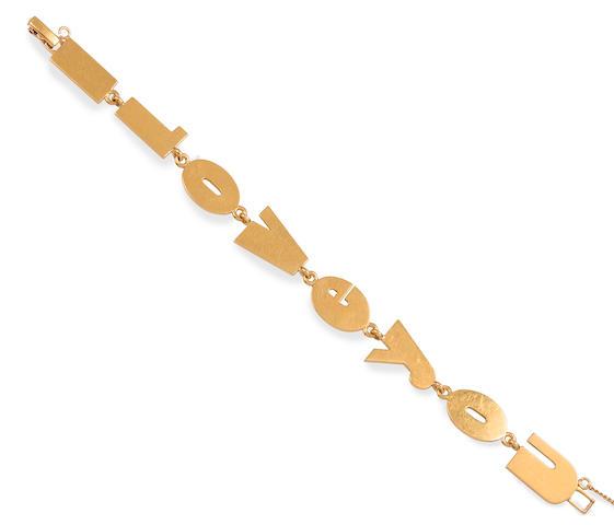 A 14k gold 'I LOVE YOU' bracelet