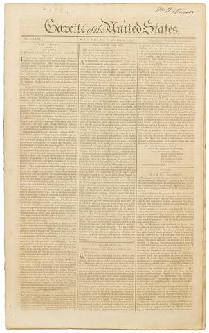 [HAMILTON, ALEXANDER. 1755-1804.] Gazette of the United States. New York: John Fenno, January 20-February 26, 1790. Nos 81-92.