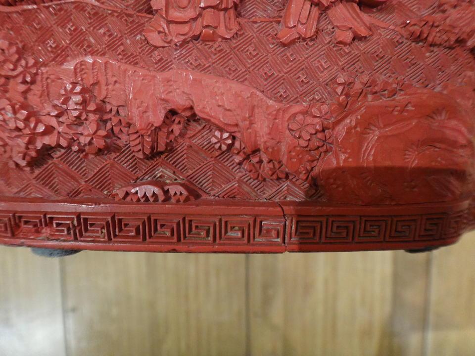 Bonhams : A fine cinnabar lacquer square brushpot, bitong Qianlong