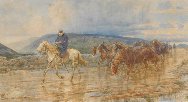 Enrico Coleman (Italian, 1846-1911) A Buttero herding wild horses in the Roman campagna 18 x 30in (46 x 76.5cm)