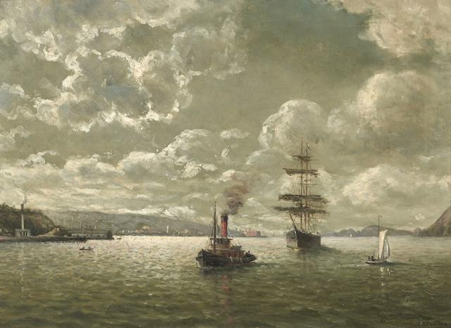 William Alexander Coulter (1849-1936) Red Stack tug and clipper ship in the Golden Gate 18 1/4 x 25in overall: 23 3/4 x 30 3/4in