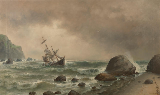 William Alexander Coulter (1849-1936) Off the breakers 30 x 50in overall: 45 3/4 x 65 3/4in (Painted in 1889)